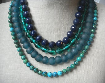 Blue Shades Multi Strand Beaded Statement Necklace , Layered Beads