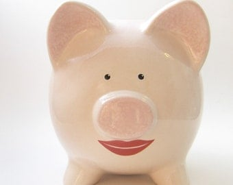 Lipstick on a Piggy Bank - Personalized Piggy Bank - Women's Piggy Bank - Pig with Lips - Girl Piggy Bank - with hole or NO hole in bottom