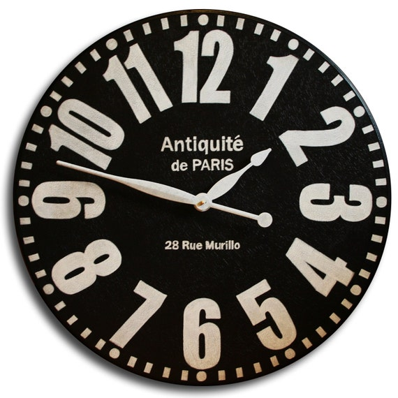 Large Wall Clock 18in Antique Style BOLD PARIS Clock Family Heirloom