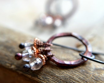 Copper earrings, hammered rustic circle, mystic clear glass beads, fire kissed patina  - The Witching Hour