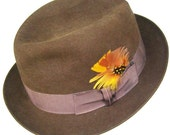 7 1/4 - Vintage Dobbs Brown Fur Felt Mens Fedora Hat