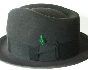 7 1/2 - Vintage Lee Gray Fur Felt Mens Fedora Hat