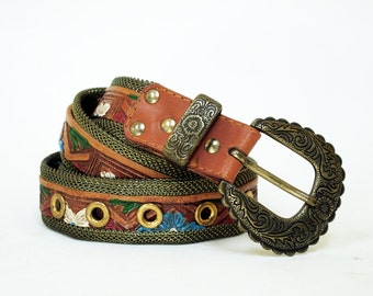Metal Mesh & Painted Floral Tooled Leather Belt