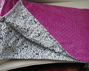 Gray and white damask with raspberry minky dot blanket