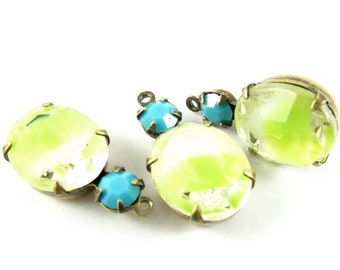 2 - Vintage Glass Stones in 1 Ring 2 Stones Antique Brass Prong Settings - White and Lime Yellow Givre & Turquoise - 19x10mm