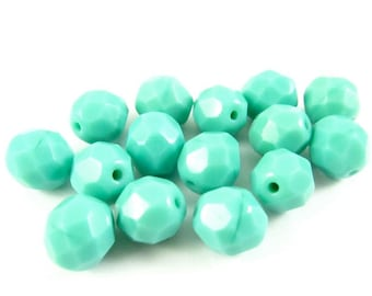 20 - Round Czech Fire Polished Faceted Glass Beads - Opaque Turquoise Green - 8mm - FPTURQ8