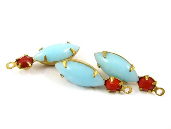 2 - Navette Set Stones Vintage Glass Drops 1 Ring Brass Prong Settings Opaque Red & Turquoise Blue 23x7mm
