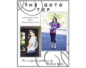 Diy PDF Sewing Pattern and Tutorial - The GoTo Women's Knit Top - Sizes S to XL
