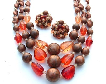 Sunset Multi Strand Beaded Necklace Clip Earring Bronze Copper Orange Plastic Jewelry, FREE US SHIPPING