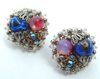 HOBE Designer Earrings Colorful Art Glass Handmade Rhinestone Beaded Jewelry from kiamichi7
