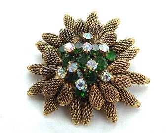 Designer KRAMER of NY Vintage Brooch Pine Cone Rhinestone Mesh Jewelry