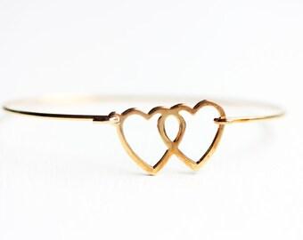 Heart Bracelet Gold, Wire Heart Bracelet, Double Heart Bracelet, Heart Cuff Bracelet, Heart Cuff, Gold Hook Bracelet, Heart Bracelet, Love