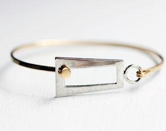 Mixed Metal Rectangle Hook Bracelet