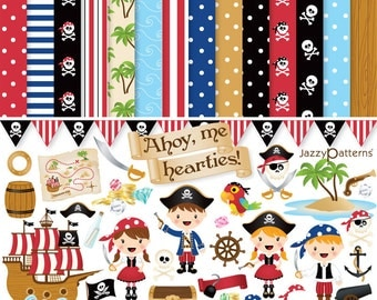 Pirate clipart and digital paper pack for boys and girls. Ahoy Me Hearties! DK021 Instant download