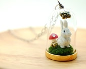 bunny in the woods necklace. story domes, glass terrarium with white rabbit