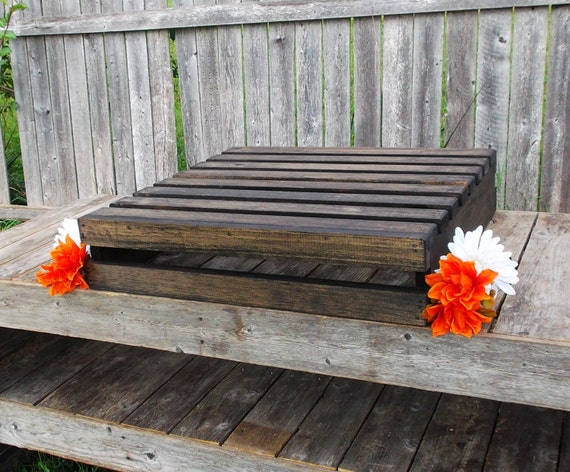 Rustic Wedding Wood Cake Stand: Rustic Wedding Decor Wood Cake Stand Fall Weddings Crate
