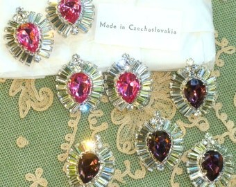 Large Vintage Czech Prong Set  Rhinestone Buttons