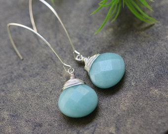 Blue Amazonite Silver Earrings, Holidays, Best of Fall, Bridal Shop, Winter Weddings, Gift for Wife, Blue Silver Earrings, Long Earrings