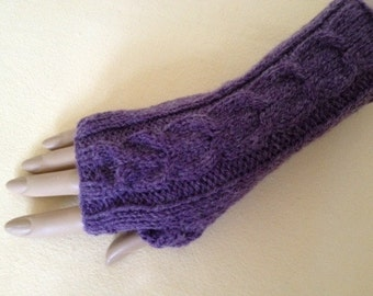 Luxury Hand Knitted Soft Merino Wool Fingerless Gloves/Mittens Arm Wrist Warmers, Grape (Chalky Mauve)