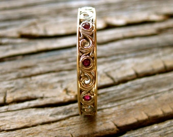 Ruby Wedding Ring in Two Tone 14K White & Yellow Gold with Detailed Scrolls Size 7