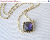 Gold Necklace - Diamond Shaped Amethyst Purple Necklace - Bridesmaid Necklace - Bridal Necklace - Bridesmaid Jewelry