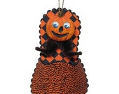 """Mixed Media Sculpture Ornament Inspired by Vintage Japanese and German Hallowe'en Chenille Ornaments - """"Jack-O-Lantern Slipper"""""""