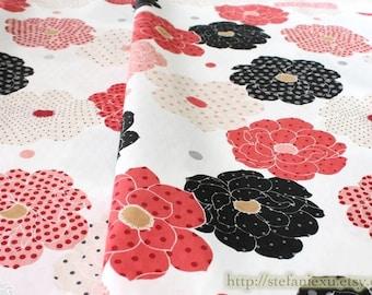 Shabby Chic Japanese Big Fashion Polka Dots Floral Dahlia Flower, Sliver Bling Bling Dots - Japanese Cotton Fabric (1/2 Yard)