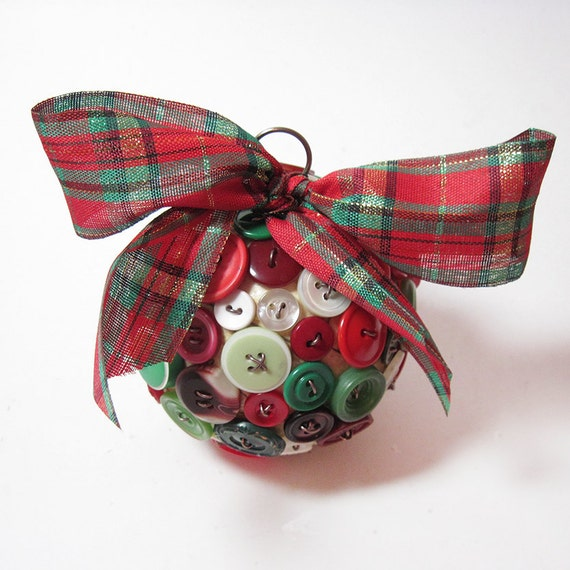 Items Similar To Button Christmas Ornament Holiday
