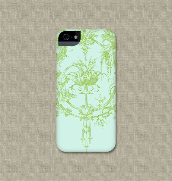 iPhone 6 Case, Toile Like Garden, iPhone Cover, Leaf Green and Aqua, iPhone 5S, iPhone 5C Case iPhone 6 Plus Case