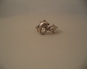 Sterling Silver Double Dolphin Ring sz 7.75
