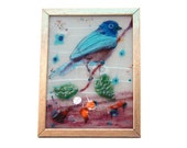 Bird  landscape  Painting on glass Fused glass  for your well art decoretion