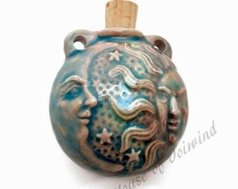 SUN & MOON Raku Style - Focal Bead Pendant Ceramic BOTTLE - Would Make a Beautiful Necklace