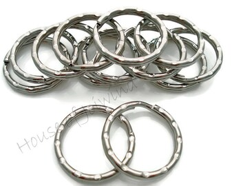 25 pieces QUALITY 25mm / 1 inch  Hammered SPLIT KEY Rings for Keychains, Purse Hardware