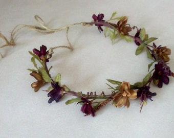 Rustic chic Hair wreath Autumn Fairy Halo flower crown -Raven- Woodland Weddings Bridal hairpiece wedding hair accessories Floral Headwreath