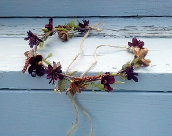 Bridal flower crown Woodland Hair Wreath, earthy brown celtic Forest Fairy festival accessory, wedding fall garland Bridal party circlet