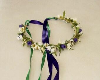 Purple Green Hair Wreath flower crown Bridal headdress silk floral headwreath Wedding accessories Hairpiece headband garland circlet halo