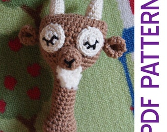 Amigurumi Crochet Woodland Sleepy Billy Goat Baby Rattle Pdf Pattern