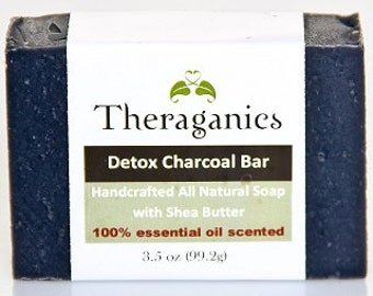 DETOX Charcoal SET - Body Exfoliation and Facial Bar for acne and other skin conditions