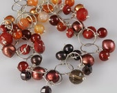 Gemstone Necklace, Adjustable Sterling Silver Necklace, Orange Yellow Red Color Necklace, Fall Color Necklace