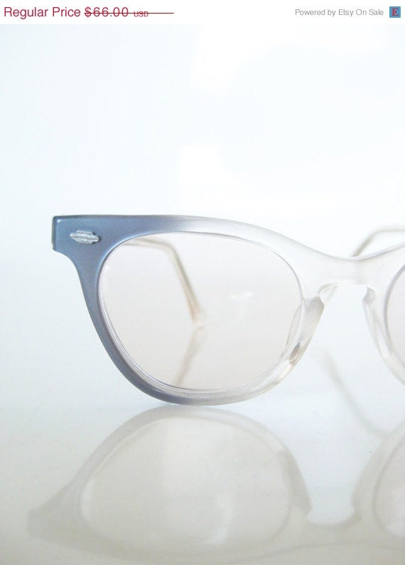 Vintage SMOKE Gray Blue Eyeglasses Glasses Lades Womens HORN RIM 1950s 1960s 60s Mad Men