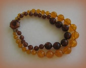 Chunky Lucite  Necklace Vintage 1950s  Root Beer and Orange Crush Large Faceted Clasp Double Strand