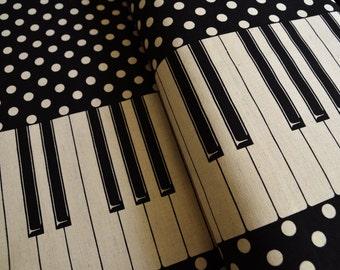 Black white and polka dot keyboard piano fabric from Kokka Japan - Half Yard