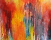 Abstract 99 Original modern abstract painting, colorful art LARGE 40x32 inch UNSTRETCHED Rolled in a tube