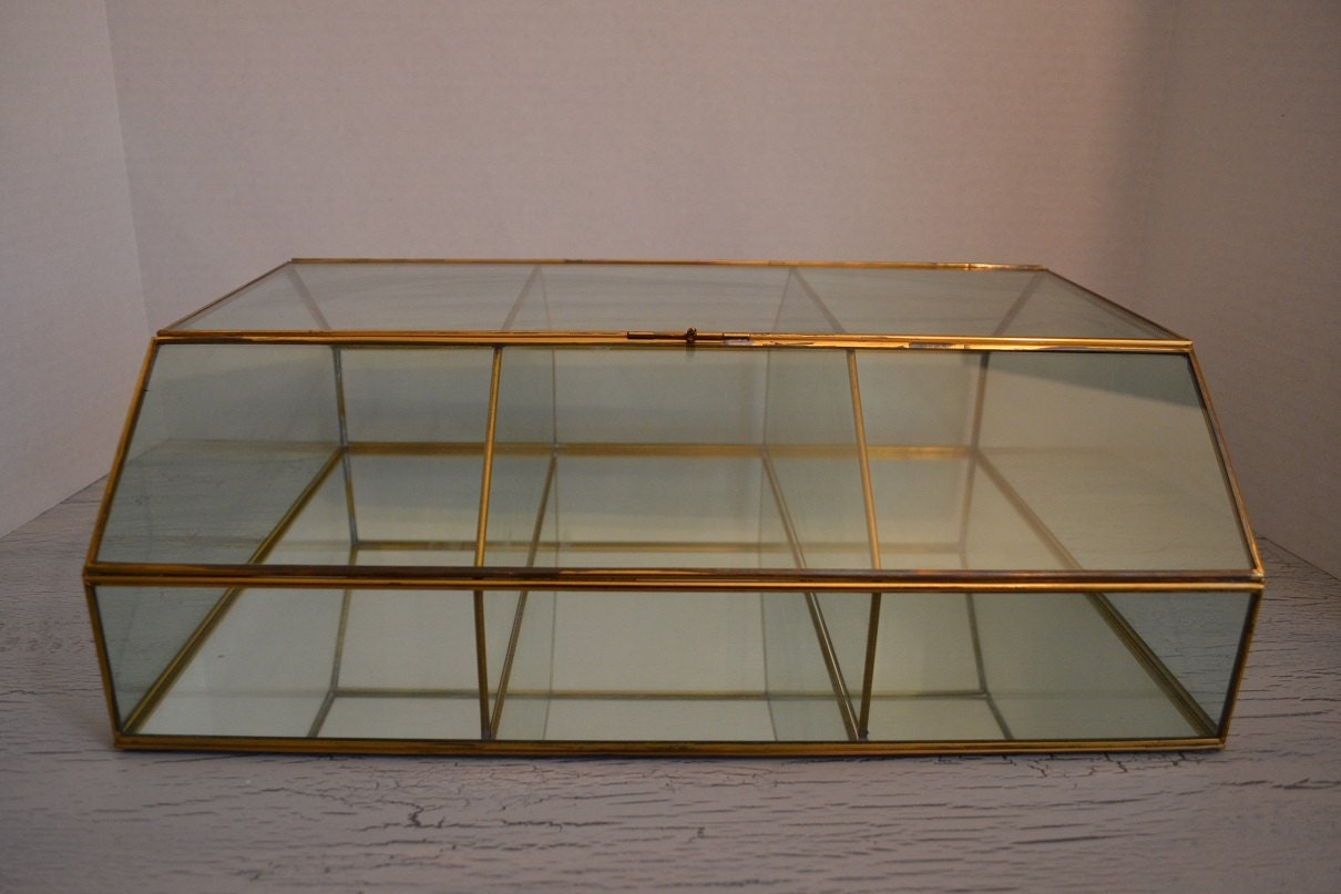 Vintage Large Brass Glass Display Box Glass By