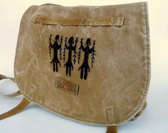 Navajo Yei Spirits on Vintage Linen Canvas Czech Military Bag. Hand Painted