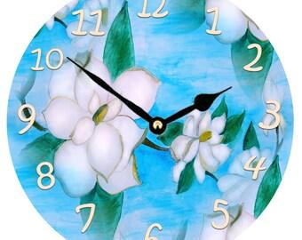 Magnolia Floral wall clock