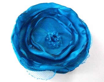 Teal blue fabric flower pin, capri blue and turquoise organza and netting flower brooch, singed flower brooch with beaded center