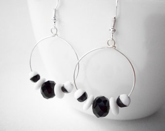 Black and white earrings, silver hoop earrings, graphic mod jewelry