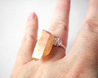 Crystal point ring, raw aura quartz ring, silver ring size 5 or custom size, wire wrapped tangerine aura quartz gemstone finger ring