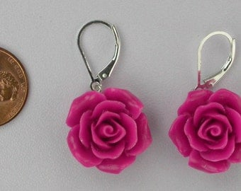 Fuchsia Rose Earrings